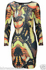 New Womens Ladies Celebrity Bodycon Long Sleeve Butterfly Wing Print Tunic Dress