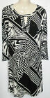 NEW LADIES GEORGE BLACK & CREAM ABSTRACT  PRINT TUNIC TOP SIZE 10 - 24 BNWOT