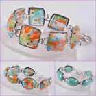 Millefiori turquoise oval square round beaded adjustable bracelet 7-8.5""