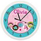 SAFARI ANIMALS NURSERY WALL CLOCK JUNGLE PINK TEAL BLUE MONKEY TURTLE BABY DECOR