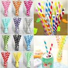 25Pcs Multi Color Cute Paper Drinking Straws Birthday Wedding Party Decoration