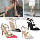 Women High Heel Pointed Toe Studded Ankle Strap Pump Stiletto Rivet Shoes Sandal
