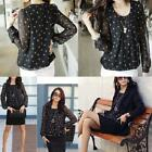 Trendy Women's 2Colors Polka Dot Casual Top Shirt  Round Neck Chiffon Blouse LJ