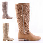 NEW Studded Knee High Boots Cuban Zip Beige Khaki Camel Womens Spring Size 3-7