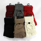 Fashion Women Ladies Kintted Wool Gloves Fingerless with Flip Top Cover Winter