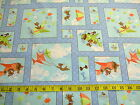 ZIG: FLYING CARTOON DOGS PLANES BLOCKS ON LIGHT BLUE PATCHWORK FABRIC