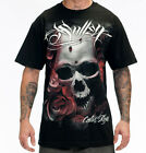 SULLEN DISTORTION MENS BLACK SKULL T SHIRT TATTOO S M L XL 2XL 3XL BIKER ROCK