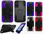 For Boost Mobile ZTE MAX N9520 Advanced Layer HYBRID KICKSTAND Rubber Phone Case