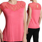 MOGAN PLUS Lace Inset Sweetheart Crew Neck TOP Sleeveless Tee Shirts CORAL 2X