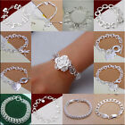 Wholesale New Hot Many Styles Silver Charm Ladies Bracelet  Chain + GIFT BOX925
