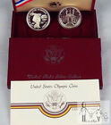1983 1984 S Olympic Commemorative Proof Silver Dollar Two Coin Set Box & COA's