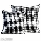 Modern Designer Black Houndstooth Filled Cushion 100% Cotton Dogtooth