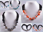 20mm Araneida agate shell beaded necklace 1""