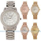 Unisex Bling Crystal Ladies Women Girl Roman Stainless Steel Quartz Wrist Watch