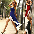 4 Color Sexy Women Casual Gown Prom Ball Formal Evening Party Dovetail Hem Dress