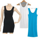 Womens Thin Long Vest Top Mini Dress Sleeveless Racer Back Lady Bodycon T Shirt