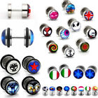 Pair Stainless Steel Fake Cheater Ear Stud Earring Illusion Ear Plugs Stretcher