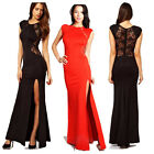 Ladies Sexy Lace See-through Slim Bodycon Split Side Maxi Long Party Dress XS~XL