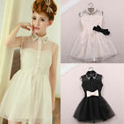 Princess Dress Women's Pearl Rhinestone Puff Skirt Tank Sleeveless Dresses +Belt