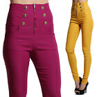 MOGAN Elastic HIGH WAISTED PANTS Zipper Button Accent Stretch Skinny Trousers