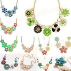 Hot Fashion Resin Acrylic Flower cluster Choker Bib Statement Necklace Chain