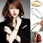 Women's Fashion Silver Gold Spike Nail Design Bangle Twisted Charm Bracelet NEW