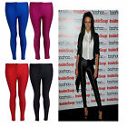 Womens Celeb Inspired Wet Look PU  Disco Leggings Trouser Pants with Zip 8-14