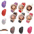Lady Women Vogue Golden Crescent Rainbow Bead Case Quartz Wrist Watch PU Leather