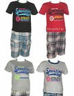 boys casual top t shirt & check shorts outfit holiday summer beach wear children