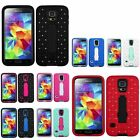 Diamond Bling Heavy Duty Stand Hybrid Hard Cover Case For Samsung Galaxy S5