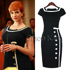 2014 Vintage Women Celeb Square Neck Cap Sleeve Tunic Paty Slimming Pencil Dress