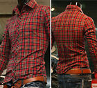 Sexy Men's Slim Fit Casual Shirts Long Sleeve Tops Polo Collar T-Shirt S M L XL