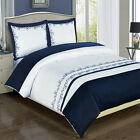 Amalia Navy Embroidered cotton 8PC Bed in a Bag