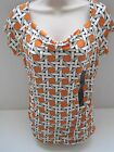 BANANA REPUBLIC Women's Orange Pattern Drape Front Top Size XS-XL NWT