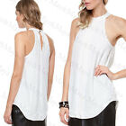 May&May Women's White Longline Halter Sleeveless Cut Detail Top Shirt Tee Blouse