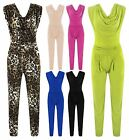Womens Leopard Print Jumpsuit Ladies Silky Drape Neck Bodycon Party Trousers Top