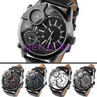 Mens 3 Time Zone Army Military Design Sport Quartz Watch Leather Band + Gift Box