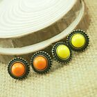 "Fashion Hot Vintage Bronze Yellow/Orange Stud Earrings 0.6""X0.6"" ASY"