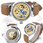 Hollow Gold-tone Dial Blue Needle Leather Band Mechanical Automatic Wrist Watch