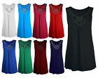 Womens Plus Size Sleeveless Beaded Stud Detail Flared Swing Long Vest Top 8-22