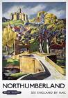 Warkworth Castle, Northumberland. BR Vintage Travel Poster art print by E Harris