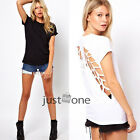 Womens Casual Short Sleeve Angel Wings Hollow Back T-Shirt Blouse Tops Crew Neck