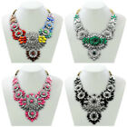 Fashion Bib Style Statement Necklace Gold Chain Rhinestone Crystal Flower Chunky