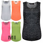 New Womens Ladies Sleeveless Burn Out Neon T-Shirt Vest Tank Top Plus Size  8-22