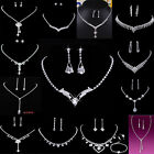 NEW WEDDING BRIDAL CRYSTAL RHINESTONE NECKLACE EARRINGS SET JEWELLERY SILVER