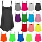 NEW WOMENS LADIES PLAIN SLEEVELESS STRAPPY SWING VEST CAMI CASUAL TANK TOP 8-22