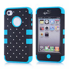 For Apple iPhone 4/4S Hybrid Impact Phone Cover Case Snap ON Back Skins Fashion