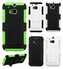 For HTC One M8 Armor HYBRID KICKSTAND Rubber Case Phone Cover + Screen Protector