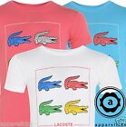 Lacoste Kid's Crew Neck CROC Logo Printed Plain Cotton T-Shirt White Blue Pink