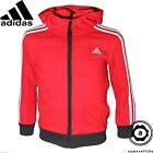 Adidas Junior Boys LK Essential Full-Zip Hood Sweat Shirt Red All Sizes Z29942